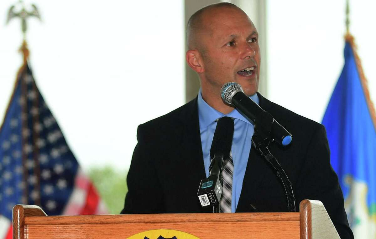 Brian Mattiello, Former Director of the Office of Family Support, gives the oepning remarks as Connecticut holds the 19th annual 9/11 memorial ceremony Thursday, September 10th, 2020, at Sherwood Island State Park in Westport, Conn. The ceremony is held yearly to honor and celebrate the lives lost in the Sept. 11, 2001 terror attacks. Family members of those killed in the attacks participated in the ceremony, and the names of the 162 victims with Connecticut ties were read aloud.