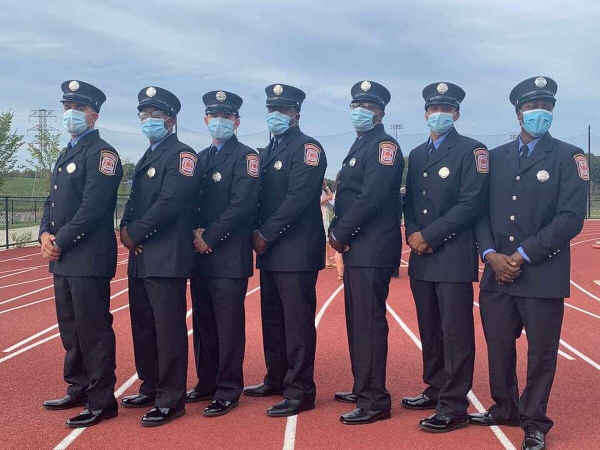 Bridgeport Mayor Joseph Ganim swore in 27 new firefighters Wednesday during a ceremony at the John Lewis Memorial Field at Harding High School