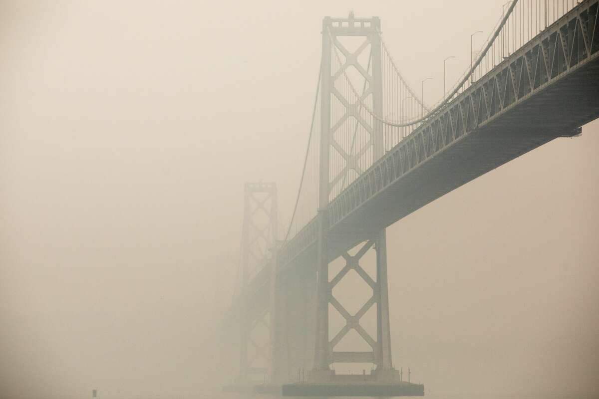 The Bay Bridge is obscured by a combination of smoke and fog on Sept. 10, 2020.