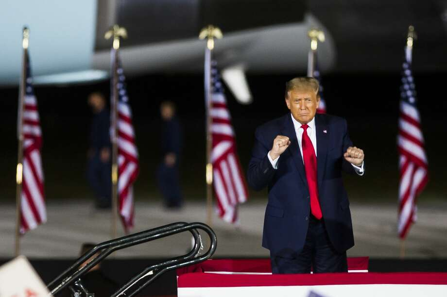 President Donald Trump exits after addressing a crowd of supporters during a campaign rally Thursday, Sept. 10, 2020 at MBS International Airport in Freeland. (Katy Kildee/kkildee@mdn.net) Photo: (Katy Kildee/kkildee@mdn.net)
