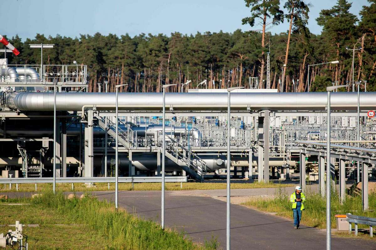 The Nord Stream 2 gas line landfall facility in Lubmin, north eastern Germany, on September 7, 2020. - German Chancellor Angela Merkel will not rule out consequences for the Nord Stream 2 gas pipeline project if Russia fails to thoroughly investigate the poisoning of opposition leader Alexei Navalny, her spokesman said. (Photo by Odd ANDERSEN / AFP) (Photo by ODD ANDERSEN/AFP via Getty Images)