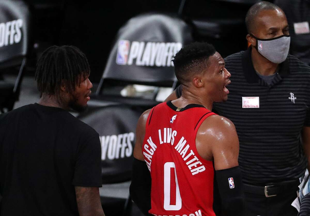 LAKE BUENA VISTA, FLORIDA - SEPTEMBER 10: Russell Westbrook #0 of the Houston Rockets gets a technical foul during the fourth quarter against the Los Angeles Lakers in Game Four of the Western Conference Second Round during the 2020 NBA Playoffs at AdventHealth Arena at the ESPN Wide World Of Sports Complex on September 10, 2020 in Lake Buena Vista, Florida. NOTE TO USER: User expressly acknowledges and agrees that, by downloading and or using this photograph, User is consenting to the terms and conditions of the Getty Images License Agreement. (Photo by Michael Reaves/Getty Images)