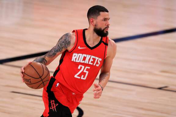 LAKE BUENA VISTA, FLORIDA - SEPTEMBER 10: Austin Rivers #25 of the Houston Rockets dribbles the ball during the third quarter against the Los Angeles Lakers in Game Four of the Western Conference Second Round during the 2020 NBA Playoffs at AdventHealth Arena at the ESPN Wide World Of Sports Complex on September 10, 2020 in Lake Buena Vista, Florida. NOTE TO USER: User expressly acknowledges and agrees that, by downloading and or using this photograph, User is consenting to the terms and conditions of the Getty Images License Agreement. (Photo by Michael Reaves/Getty Images)