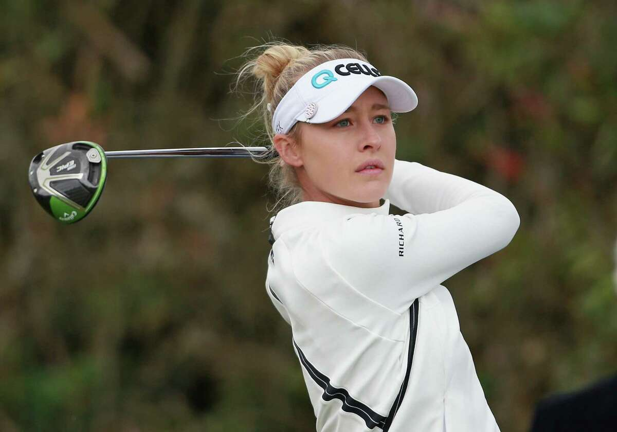 DALY CITY, CA - APRIL 28: Nelly Korda watches her tee shot on the first hole during the third round of the Mediheal Championship at Lake Merced Golf Club on April 28, 2018 in Daly City, California. (Photo by Matt Sullivan/Getty Images)