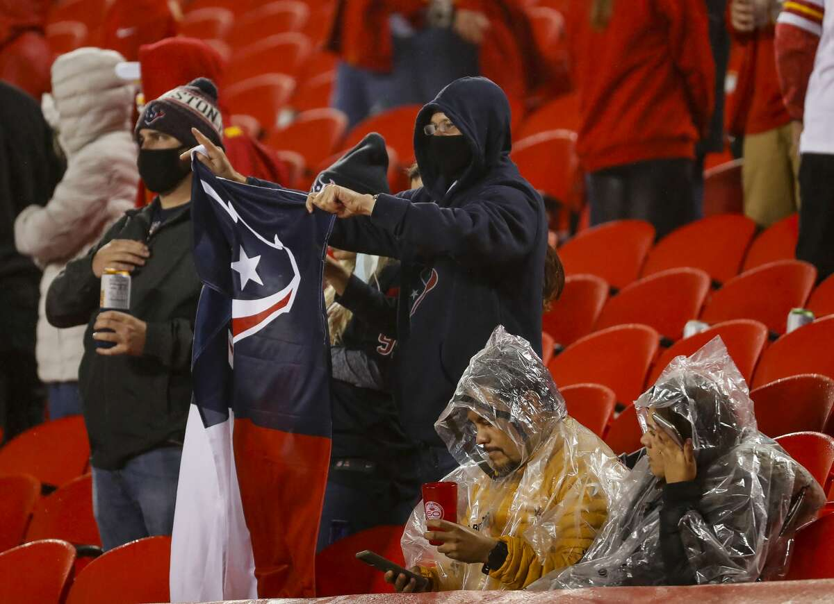 Texans fans cheer from the stands during the third quarter of an NFL football game on Thursday, Sept. 10, 2020, at Arrowhead Stadium in Kansas City.