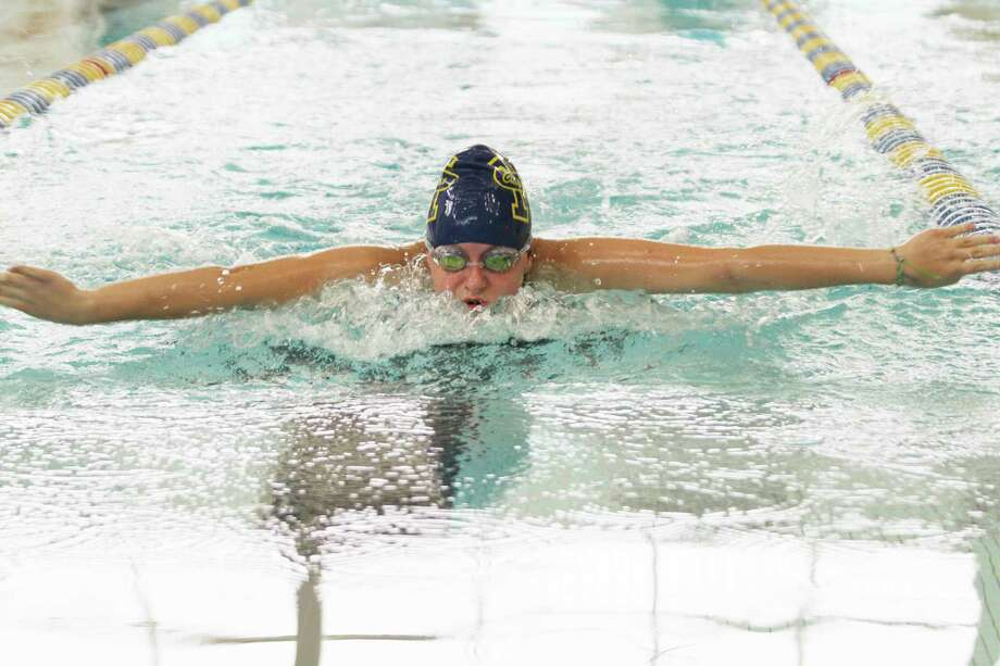 Manistee's Brooklyn Blair swims the 100-yard butterfly on Thursday. (Dylan Savela/News Advocate)