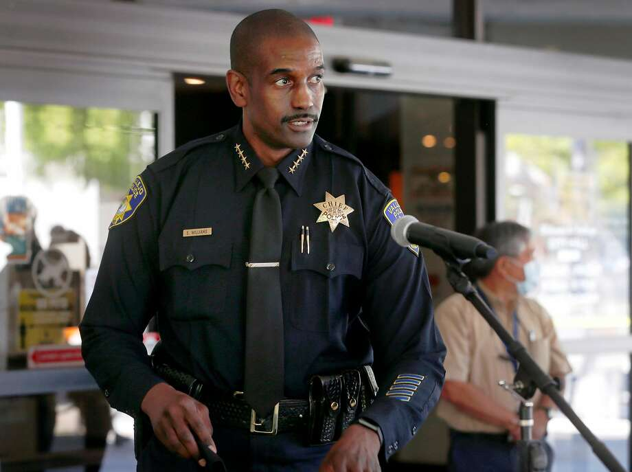 Police Chief Shawny Williams arrives for a news conference in Vallejo, Calif. on Wednesday, June 3, 2020 to discuss the officer involved shooting death of Sean Monterrosa. Monterrosa died from gunshot wounds during an encounter with police outside a Walgreens in Vallejo Monday night. Photo: Paul Chinn / The Chronicle