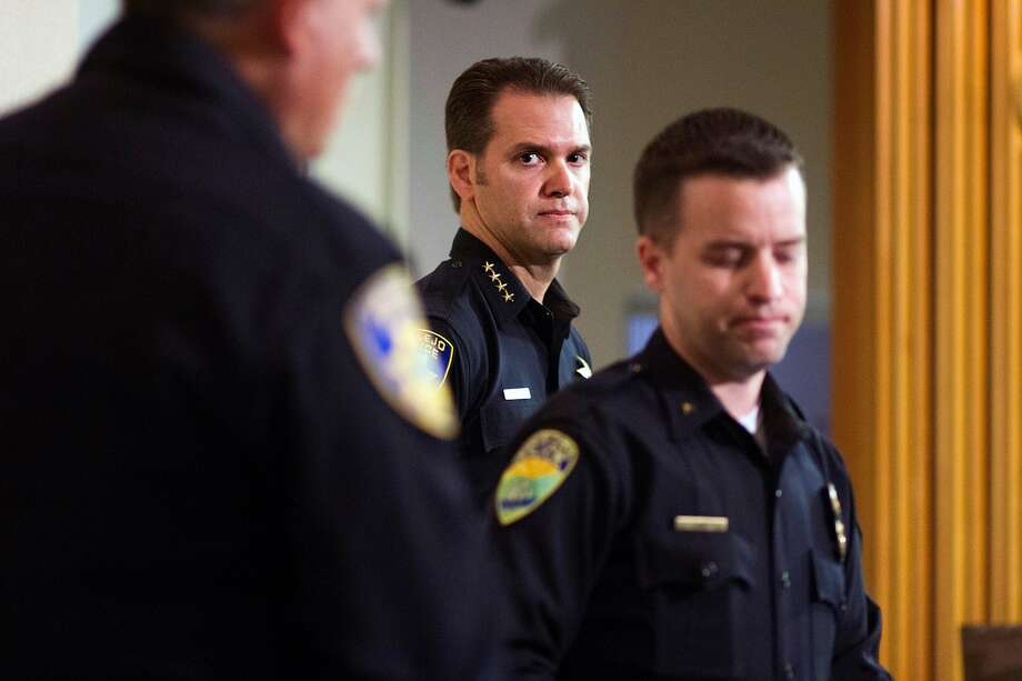 Vallejo Chief Andrew Bidou, center, and Suisun Police Commander Andrew White discuss the Sunday, Oct. 16 shooting shooting of Andrew Powell, 41, during a news conference at Vallejo City Hall on Monday, Oct. 17, 2016. Photo: Chris Preovolos / Hearst Newspapers 2016