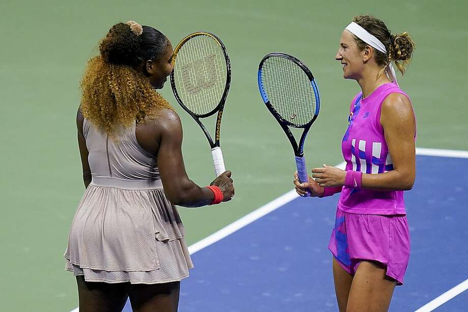Victoria Azarenka, of Belarus, right, greets Serena Williams, of the United States, after winning their semifinal match of the US Open tennis championships, Thursday, Sept. 10, 2020, in New York. (AP Photo/Seth Wenig) Photo: Seth Wenig / Associated Press