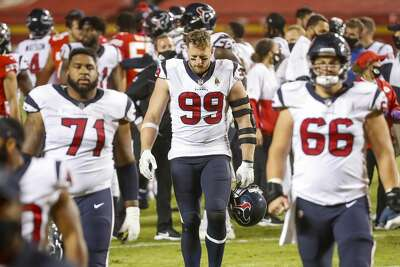 Houston Texans defensive end J.J. Watt (99) walks off of the field with his teammates after the team's loss to the Chiefs on Thursday, Sept. 10, 2020, at Arrowhead Stadium in Kansas City.