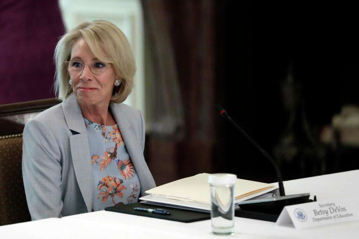 U.S. Education Secretary Betsy DeVos attends the American Workforce Policy Advisory Board Meeting at the White House in Washington, D.C, June 26.
