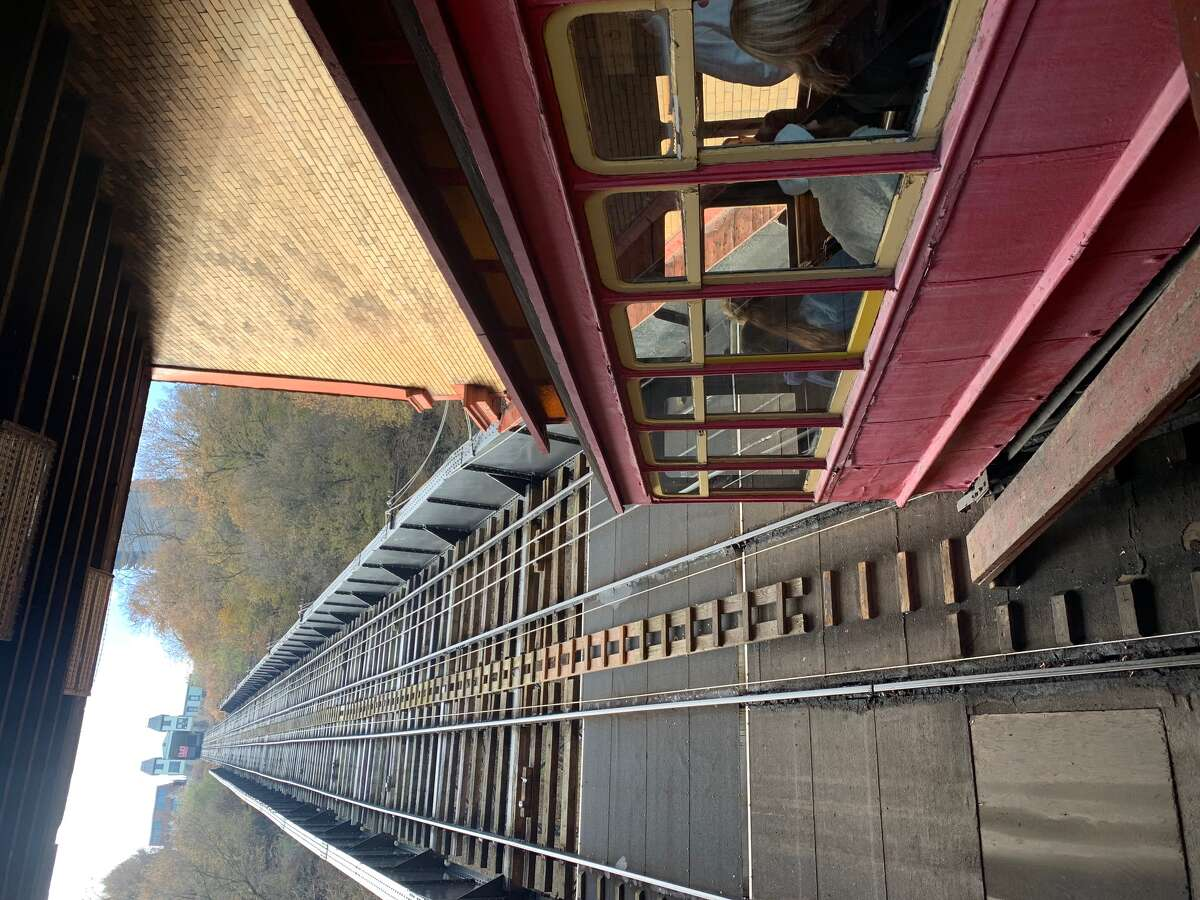 The trolley that takes you up and down the Duquesne Incline in Pittsburgh.