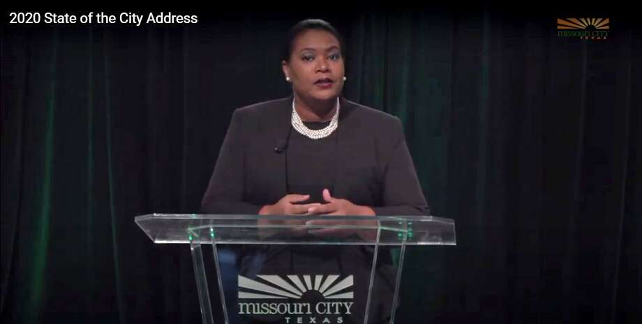 Missouri City Mayor Yolanda Ford shared her 2020 State of the City Address in a video filmed via the city's video production services, managed as part of the city's communications department. City Manager Odis Jones recently revealed allegations of postential criminal financial misconduct involving city staff travel expenditures charged to the city's municipal cable TV or PEG funds account, which is under oversight of the city's communication department director. Photo: Missouri City Access TV