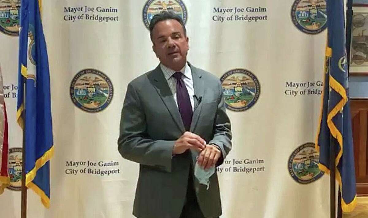 A screenshot from the video of Bridgeport, Conn., Mayor Joe Ganim addressing members of the police department, City Council and his administration after the resignation of the city's police chief following federal charges on Thursday, Sept. 10, 2020.