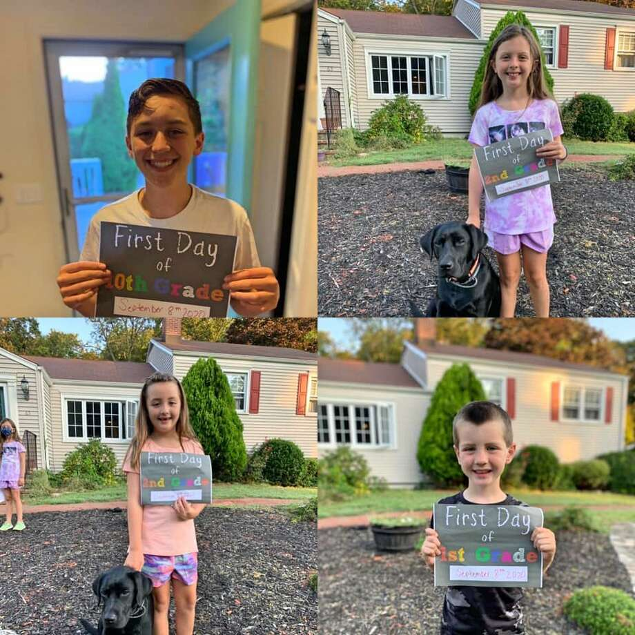 Parents' first day of school photos from around Trumbull on Sept. 8, 2020. Photo: Contributed