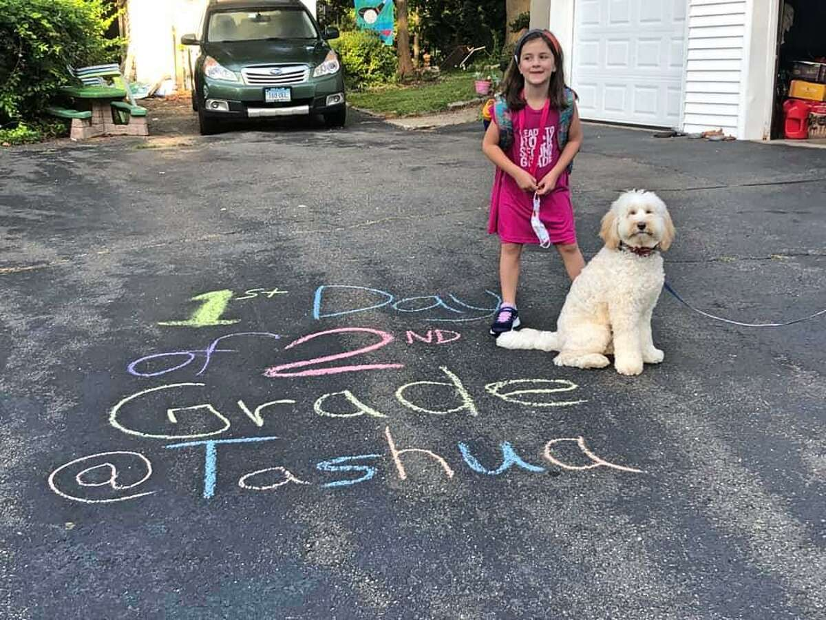 Parents' first day of school photos from around Trumbull on Sept. 8, 2020.