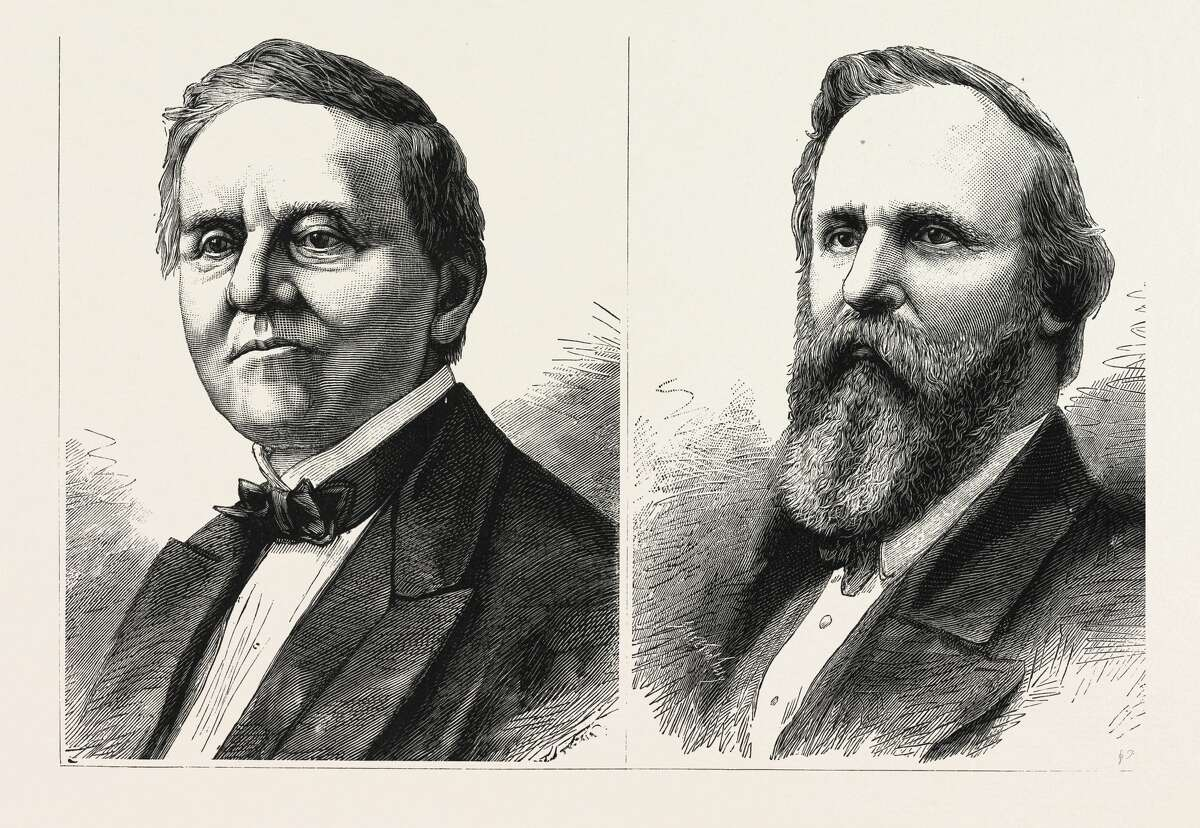 The 1876 Presidental Contest In America was between (left to right) Samuel Tilden, The Democratic Candidate And Rutherford Hayes, The Republic Candidate.
