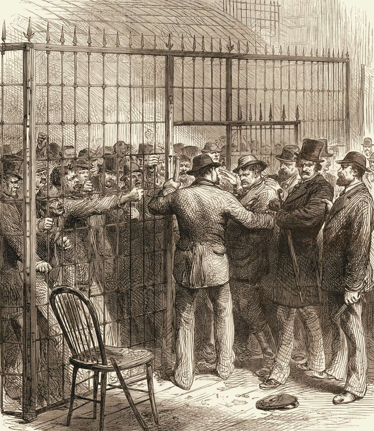 In custody at the United States Circuit Court, a crowd of men accused of voter fraud during the presidential election between Rutherford B. Hayes and Samuel J. Tilden argue with law officers, New York, November 1876.