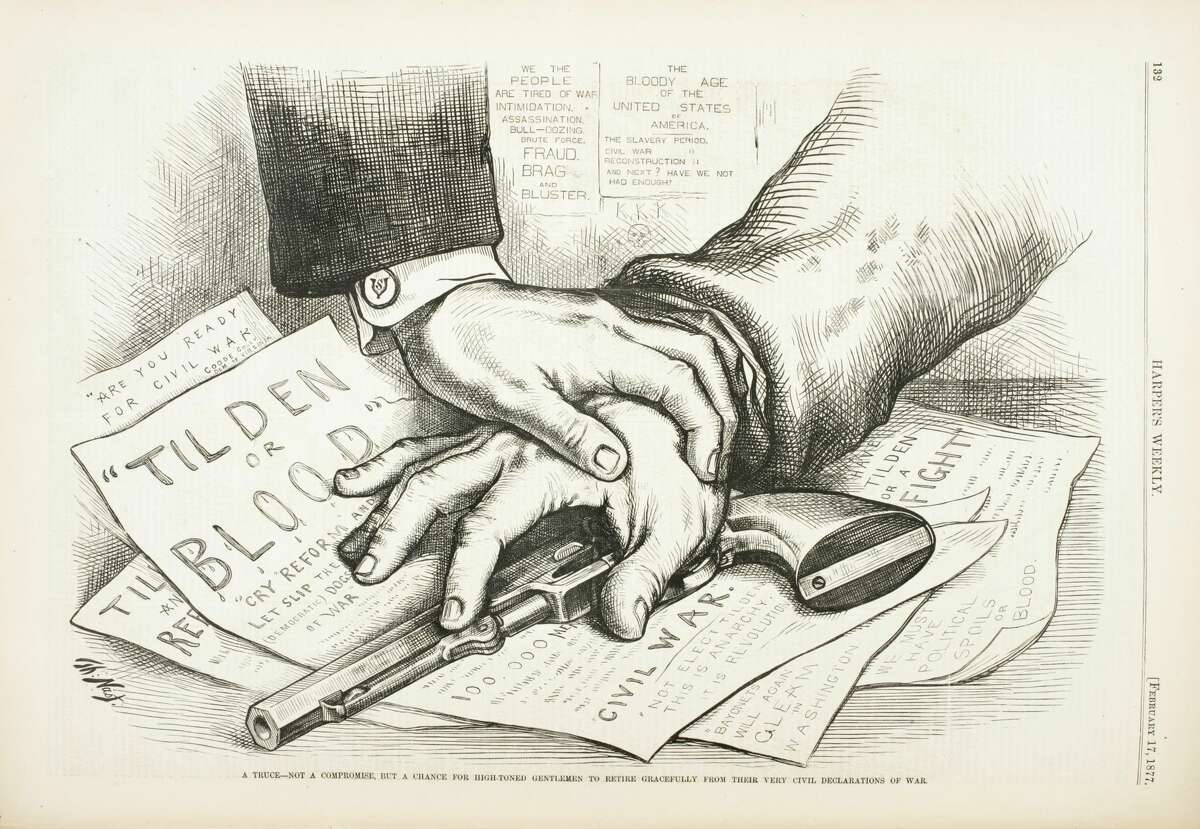 Published in Harper's Weekly, February 17, 1877. Wood engraving by Thomas Nast.