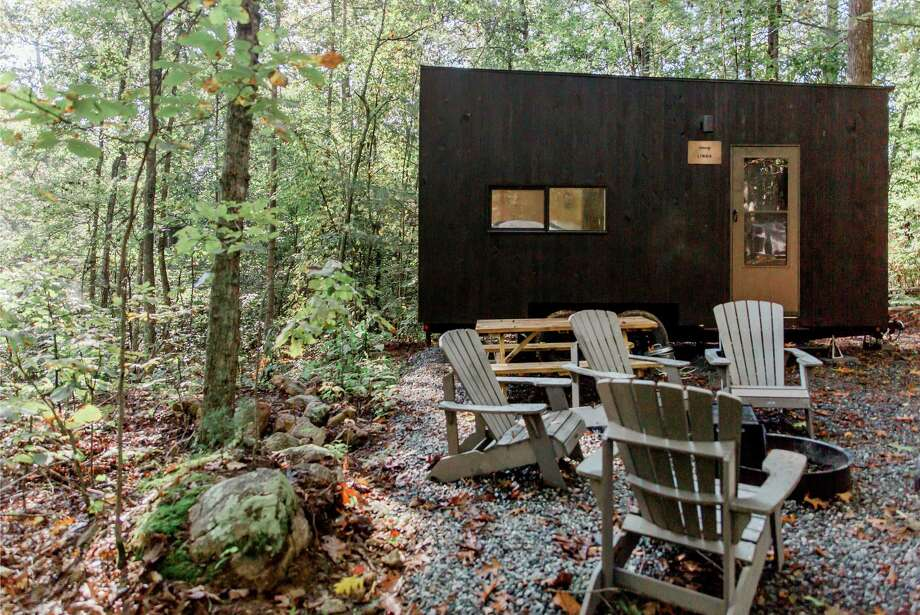 Getaway rents modern cabins made for these socially distancing times. Neighbors are seperated by at least 40 feet of space, and all communication with the staff is by text or phone. Photo: Getaway. / The Washington Post