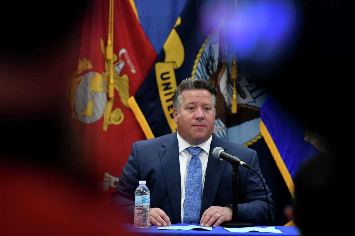 Albany County Executive Dan McCoy holds a county coronavirus briefing on Friday, Sept. 11, 2020, at the county offices in Albany, N.Y. Albany County saw its largest growth in coronavirus cases in a month. (Will Waldron/Times Union)
