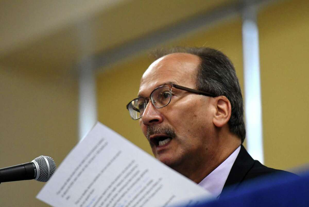 University at Albany President Havidan Rodriguez discusses the recent spike in COIVID-19 infections at the Albany campus on Friday, Sept. 11, 2020, during a county coronavirus briefing at the county offices in Albany, N.Y. Albany County saw its largest growth in coronavirus cases in a month. (Will Waldron/Times Union)