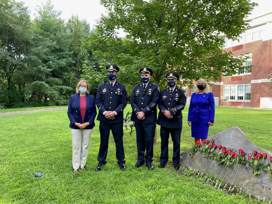 Darien held its annual 9/11 memorial ceremony at the monument on the grounds of Middlesex Middle School Friday morning. Photo: Sandra Diamond Fox/Hearst Connecticut Media
