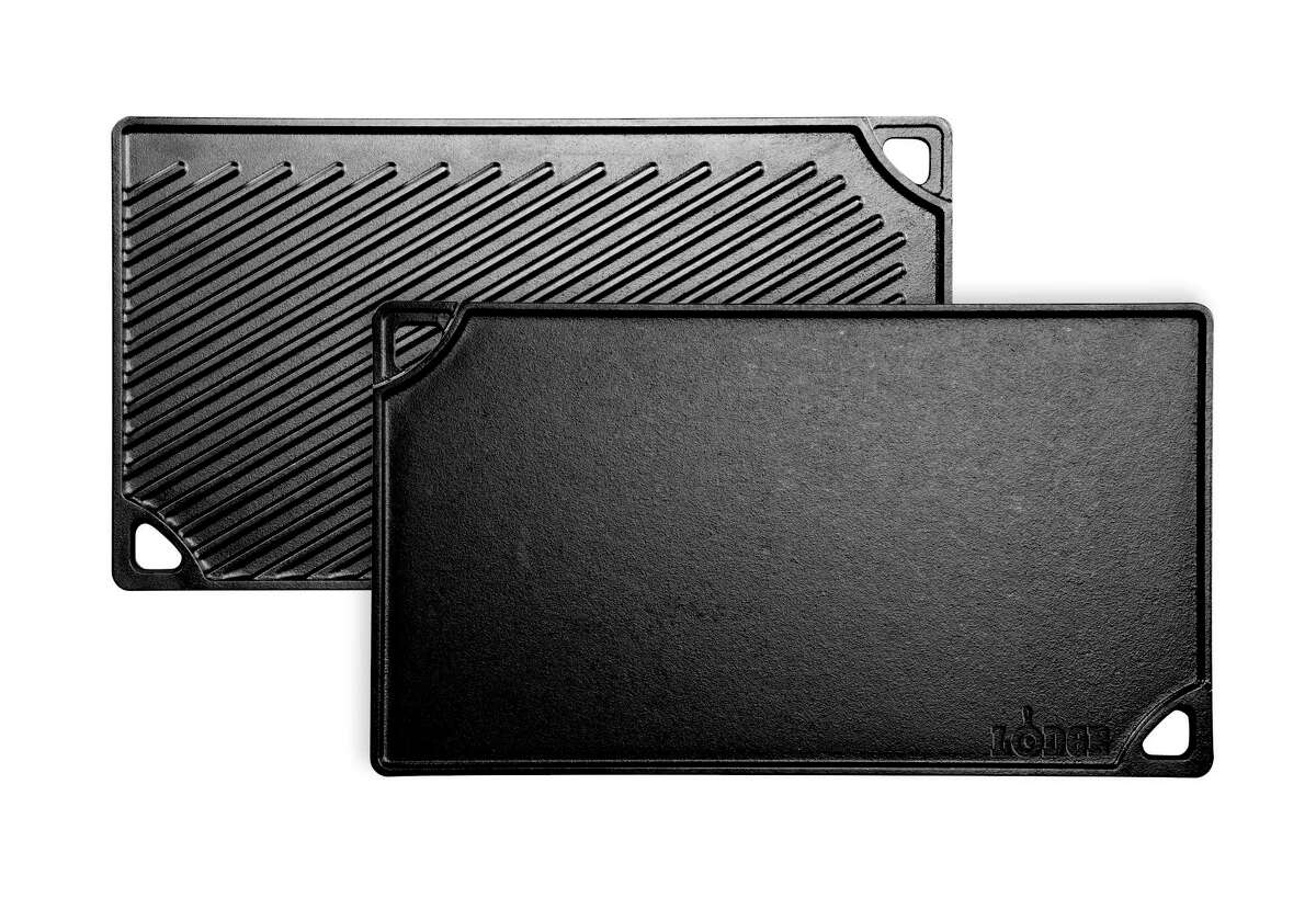 Lodge's Double Play Reversible Griddle performs on two burners or outdoors; grills on one side, griddles on the other.