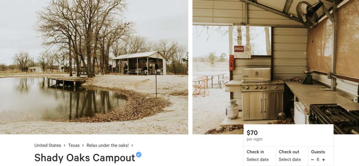 """Shady Oaks Campout The semi-retired owners of this property, outside Sutherland Springs east of San Antonio, wish to share """"a bit of their country paradise with others."""" There are trees for tying hammocks and an outdoor kitchen area by the pond. Price: $70 per night (Two night minimum) Review: """"Relax next to a small pond or have a beer under a covered patio. If you're looking for a summer hang out, this is a great place!"""" -Anna Claire B."""