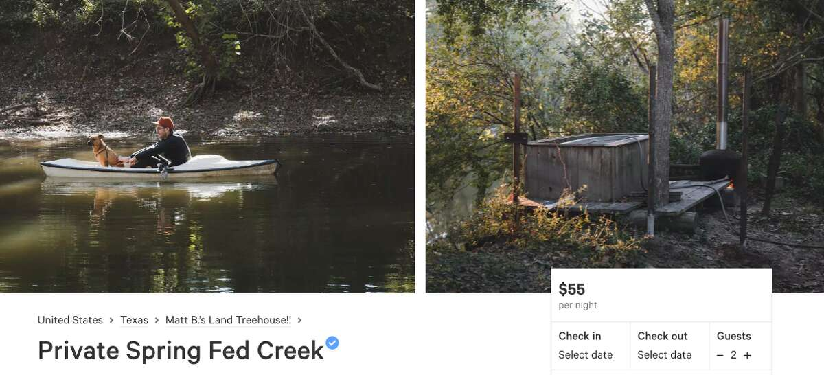 """Private Spring Fed Creek Pitch a tent along this creek, located on a family farm outside Columbus, and enjoy the water all day. A wood-burning hot tub and pizza oven are waiting come sunset. The owner's sons sell firewood and vegetables from an on-site garden. Guests can book a 13-foot tall tree house for an extra charge. Price: $55 per night ($150 per night for the tree house) Review: """"The kayaking was phenomenal, the tree house was superb, and I can't begin to recall all the little details Matt has put into this property to make it both convenient for the camper and an incredibly unique experience."""" - Georgia N."""