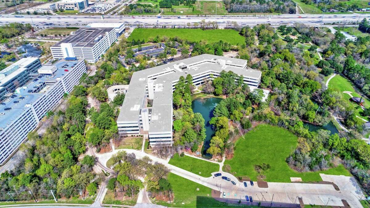 An aerial view of the newly-renovated Republic Square office campus located in West Houston's Energy Corridor