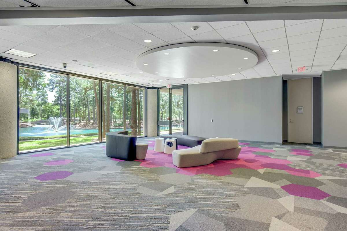 One of the common spaces featuring pod seating at the newly-renovated Republic Square office campus located in West Houston's Energy Corridor