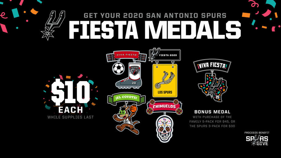 San Antonio's favorite basketball team on Wednesday announced the release of its 2020 Fiesta medals, despite the iconic celebration being canceled this year. Photo: San Antonio Spurs