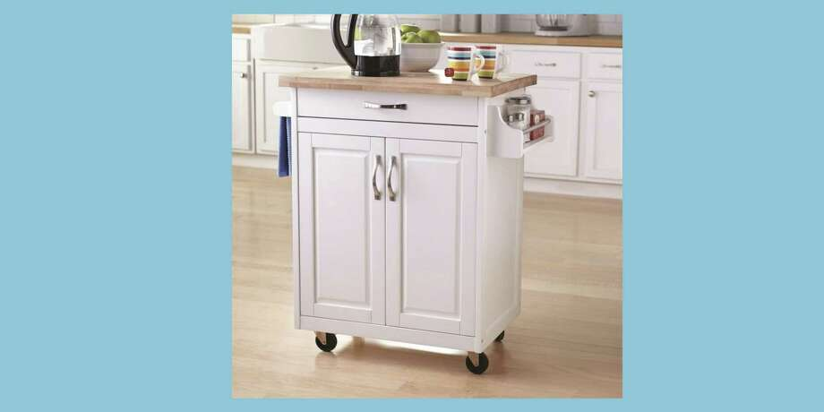 This Island Cart Is Perfect for Tiny Kitchens : Looking for a storage solution for your tiny kitchen? The small Mainstays Kitchen Island Cart will give you more storage space and meal prep space. Photo: Walmart