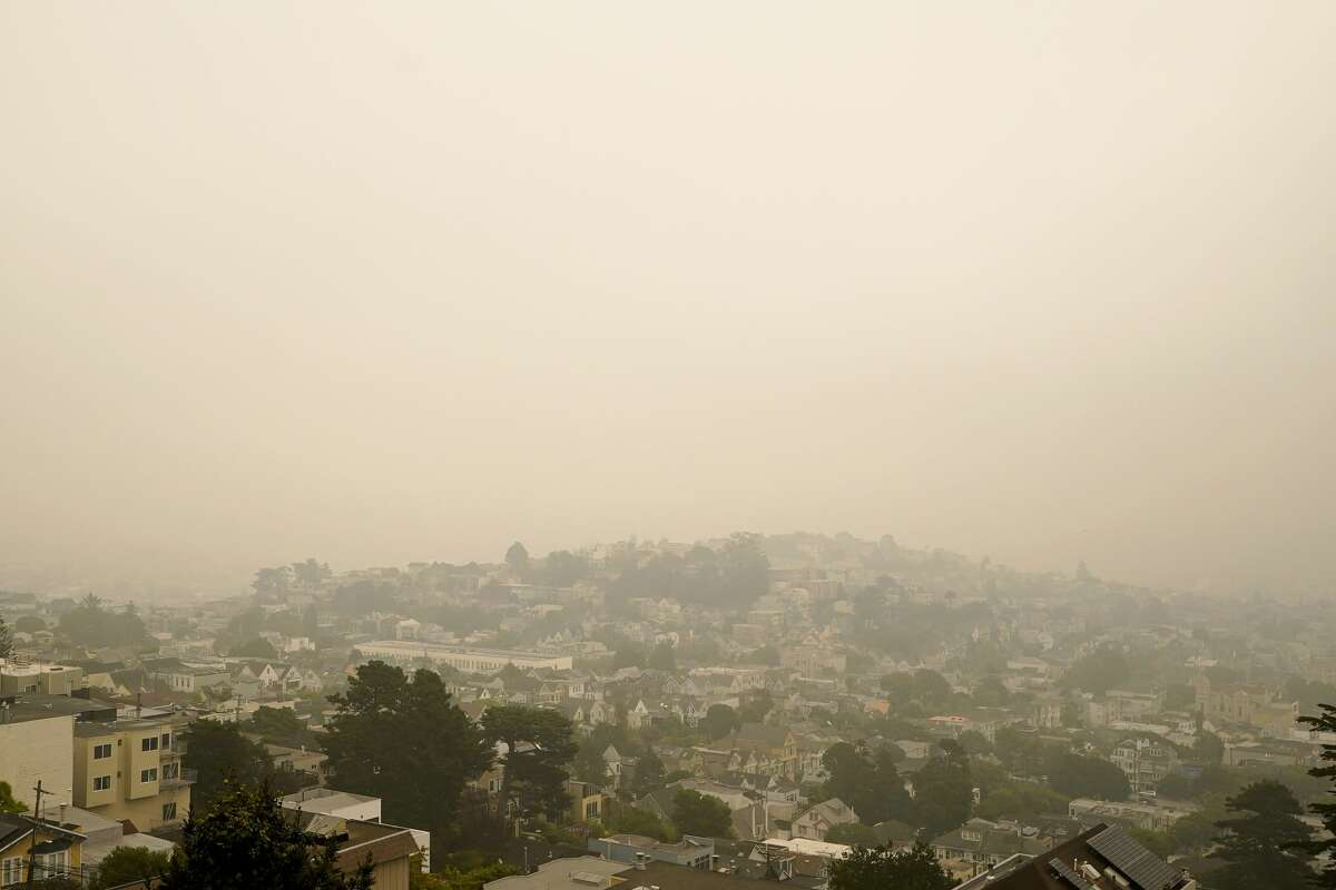 Smoke and haze from wildfires hovers over San Francisco, Thursday morning, Sept. 10, 2020.