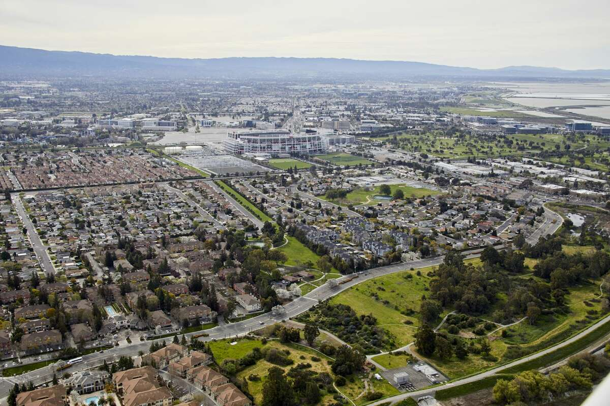 Aerial photography view west of Levi's Stadium, Santa Clara in the San Francisco Bay Area.
