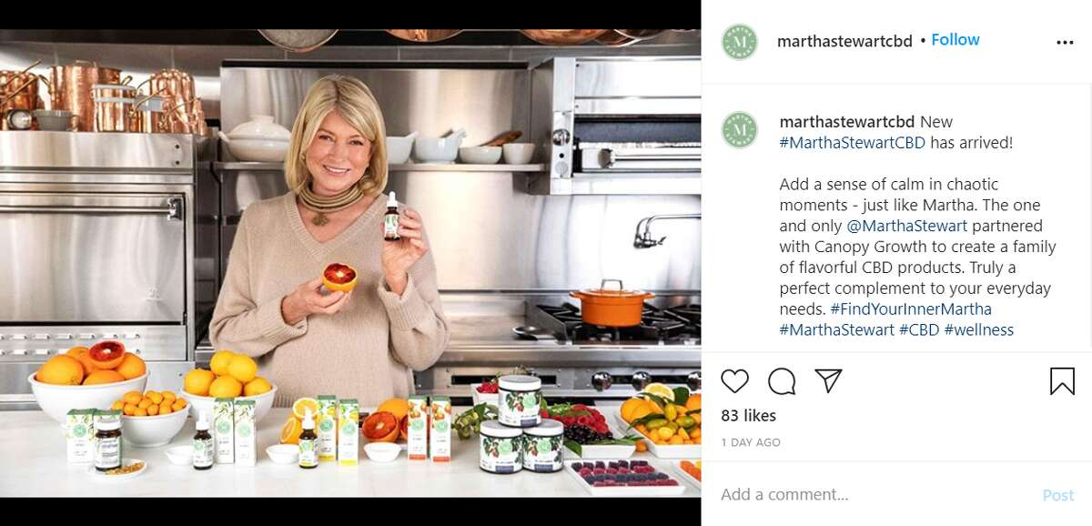 Martha Stewart has teamed up with Canopy Growth to unveil her new line of 100 percent hemp-derived, cannabidiol (CBD) filled gummies, softgels and oil drops.