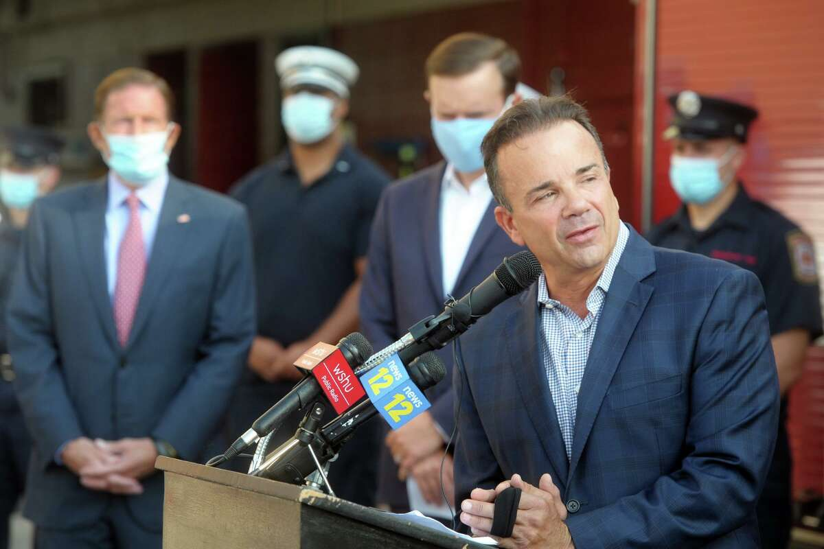 Mayor Joe Ganim speaks during the 9/11 remembrance ceremony at Fire Headquarters, in Bridgeport, Conn. Sept. 11, 2020. Mayor Joe Ganim touted the 27 men and women who were recently made city firefighters.