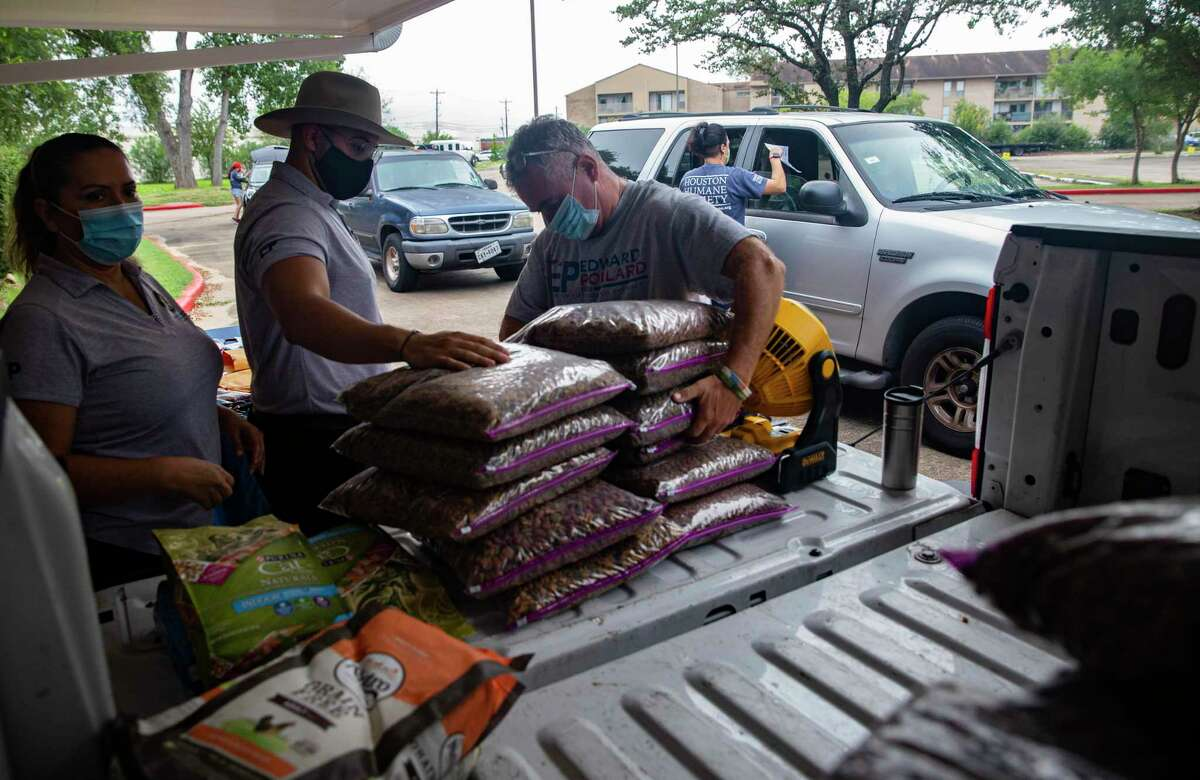 Houston City Council District J staff Francis Ellis, from left, David Alexander Brizuela and volunteer Burt Levine help distributing pet food at a giveaway with the Houston Humane Society Thursday, Sept. 10, 2020, in Houston. Council member Edward Pollard's office used the pet food distribution as an opportunity to get people to fill out the 2020 Census.