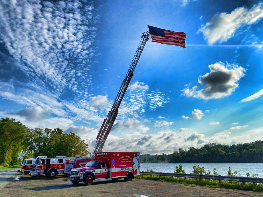 Cromwell town officials and representatives from the fire and police departments marked the 19th anniversary of the Sept. 11, 2001, terrorist attacks Friday. Photo: Cromwell Fire Chief Michael Tereznio / Contributed Photo