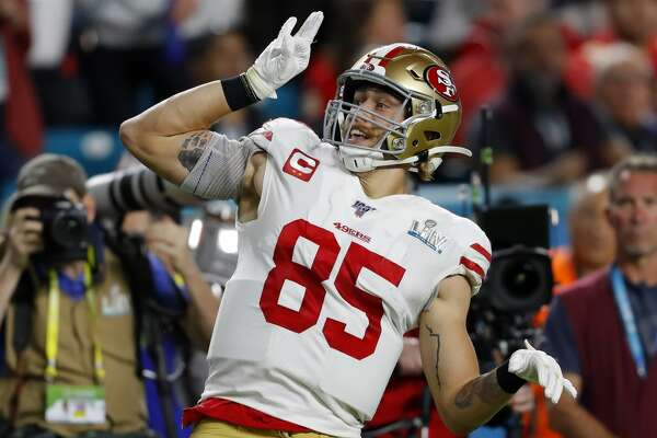 MIAMI, FLORIDA - FEBRUARY 02: George Kittle #85 of the San Francisco 49ers reacts against the Kansas City Chiefs during the second quarter in Super Bowl LIV at Hard Rock Stadium on February 02, 2020 in Miami, Florida. (Photo by Kevin C. Cox/Getty Images)