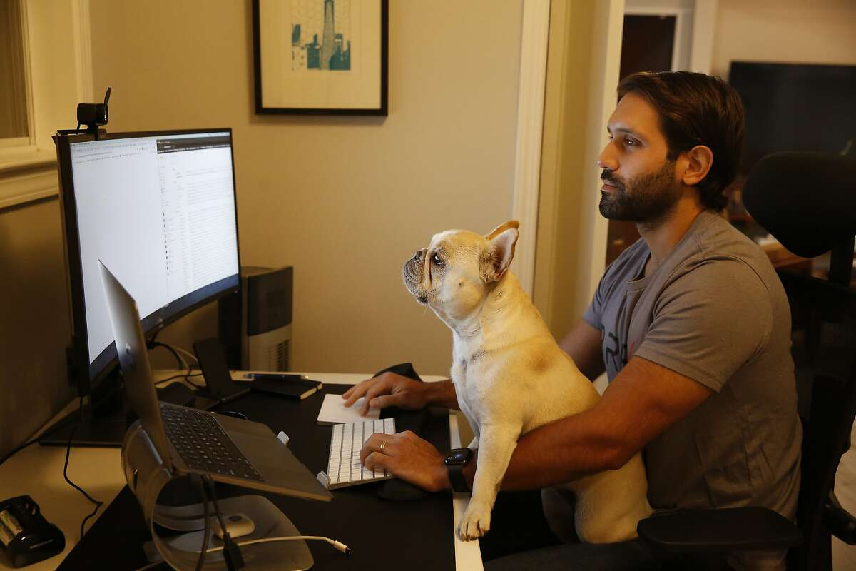 Joe Baroodyl, BREX head of recruiting, works in his home office as his dog, June, sits on his lap, on Wednesday, September 9, 2020 in Mill Valley, Calif.