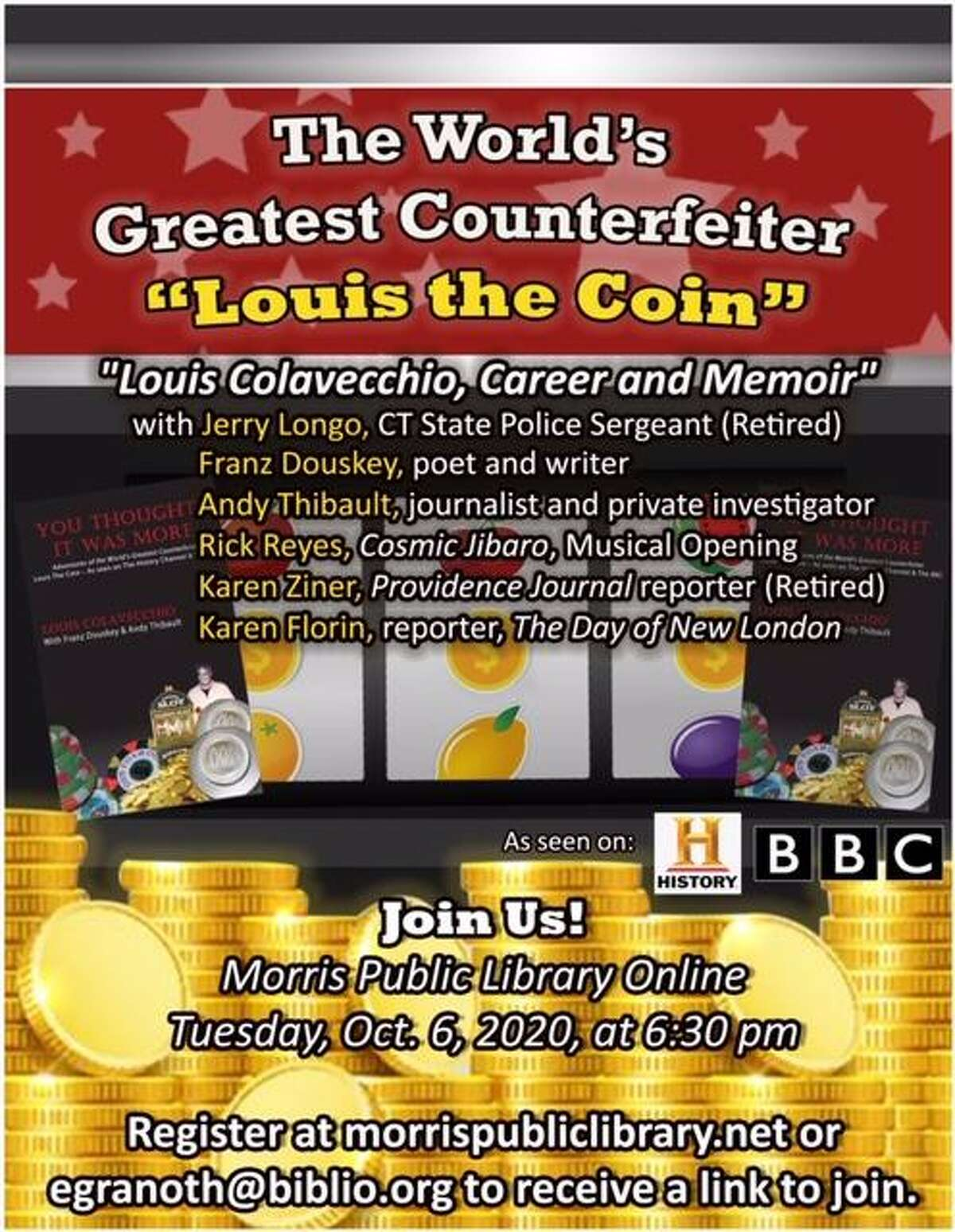 The Morris Public Library will hold a program on Louis 'the Coin' Colavecchio in October.