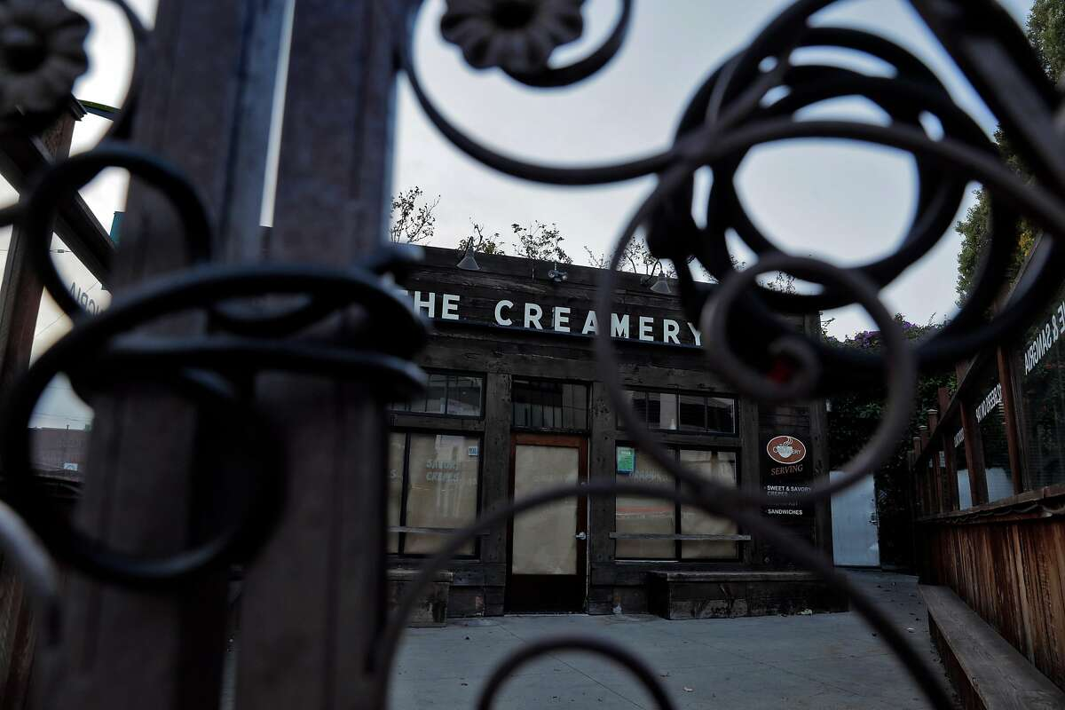 The gates remain chained shut at The Creamery in the South of Market neighborhood where the COVID-19 pandemic has derailed new construction and business contracts San Francisco, Calif., on Wednesday, September 2, 2020.