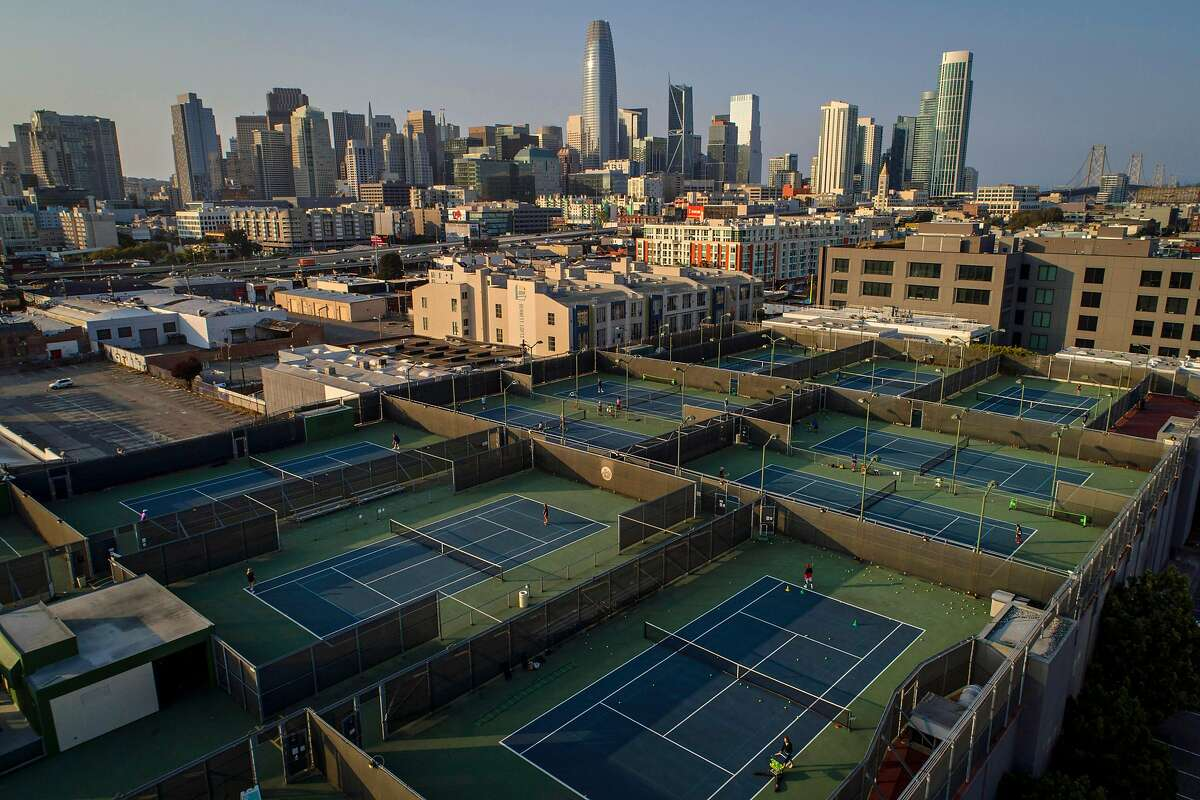 The San Francisco Tennis Club in the South of Market neighborhood where the COVID-19 pandemic has derailed new construction and business contracts San Francisco, Calif., on Wednesday, September 2, 2020.