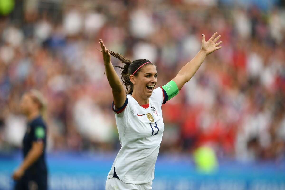 Alex Morgan of the United States celebrates during the 2019 FIFA Women's World Cup France quarter-final match between France and the United States at Parc des Princes on June 28, 2019 in Paris, France.