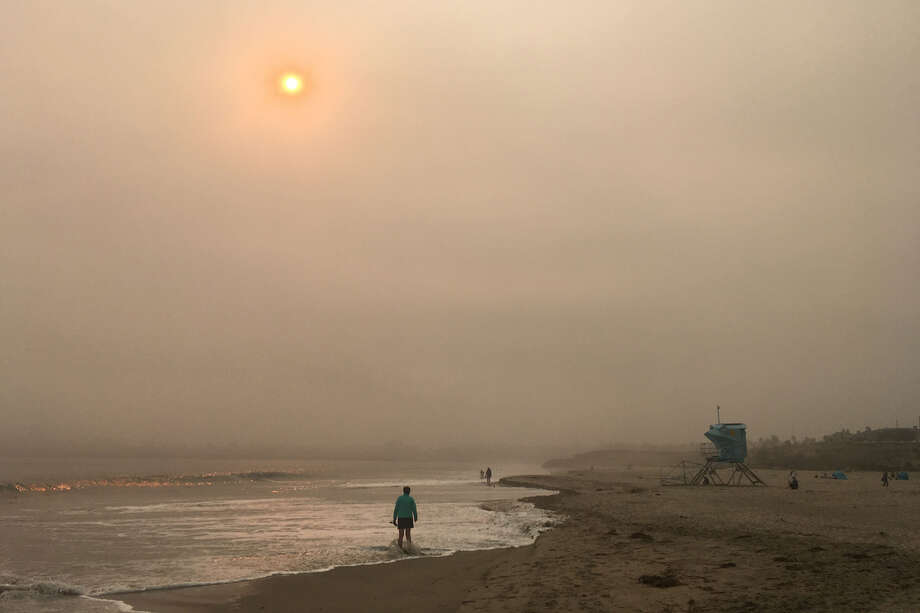Smoke from wildfires obscures the sun in Santa Cruz. Photo: Douglas Zimmerman