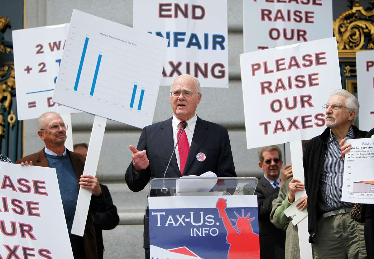 John K. Stewart, Chairman of The John Stewart Company, who heads the coalition, is a key speaker at the rally at City Hall on Tax day, in San Francisco, California on Tuesday, April 17, 2012.