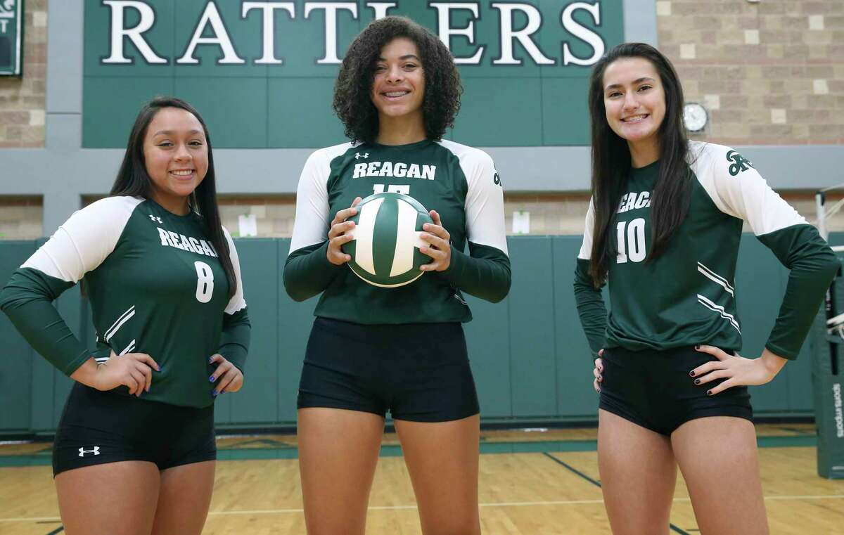 From left, libero Maddie Correa, and outside hitters Nyah Anderson and Julia Aleman led Reagan to a 39-9 record last season.