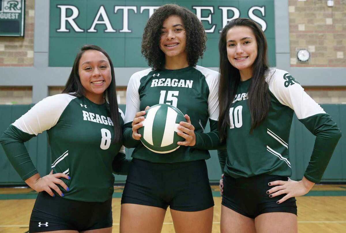 Reagan High School volleyball players Maddie Correa, Nyah Anderson and Julia Aleman on Sept. 10, 2020.